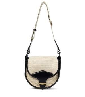 Leather Trimmed Raffia Bag