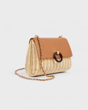 Structured Wicker Shoulder Bag
