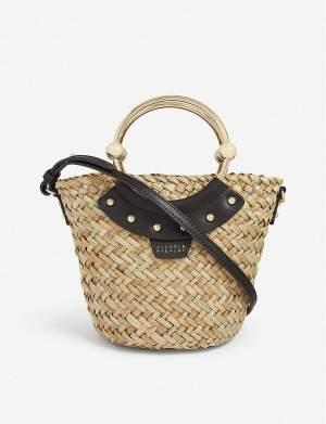 Leather & Raffia Basket Bag