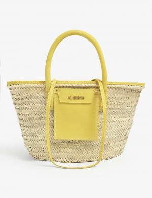 Woven Straw Tote Yellow