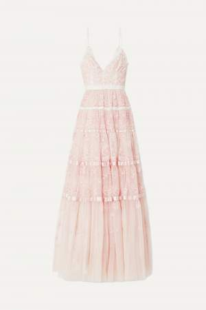 Satin Trimmed Tulle Gown