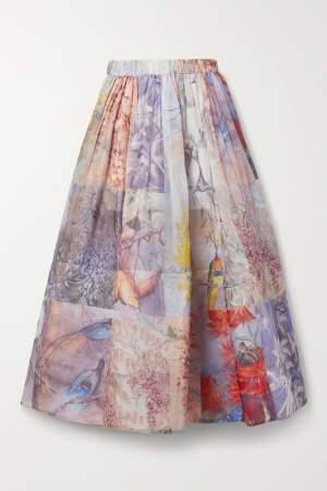 Gathered Linen Blend Skirt