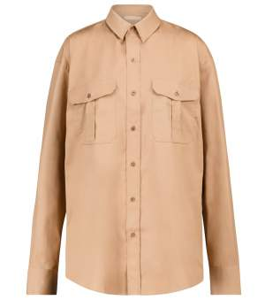 Oversized Cotton Shirt Camel