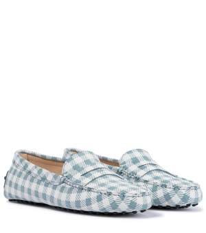 Checked Suede Loafers