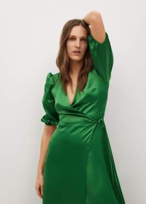 Wrapped Satin Dress Green