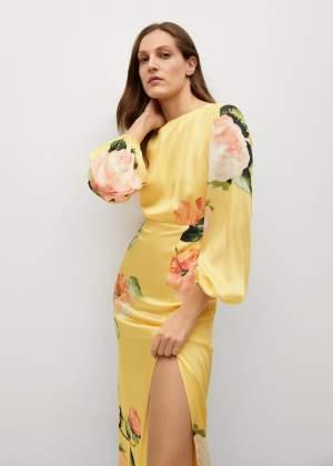 Midi Floral Dress Yellow