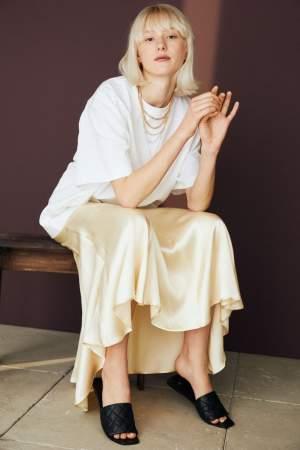 Satin Midi Skirt Yellow