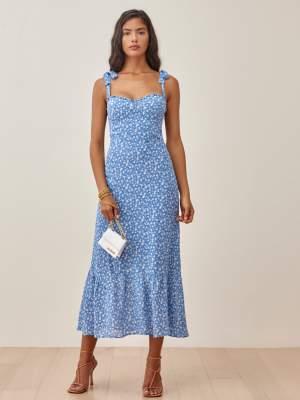 Tie Shoulder Dress Blue