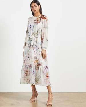 Peplum Midi Dress Floral