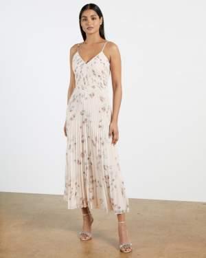 Pleated Midi Dress Floral
