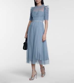 Tulle Midi Dress Blue