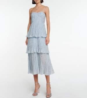 Pleated Midi Dress Blue