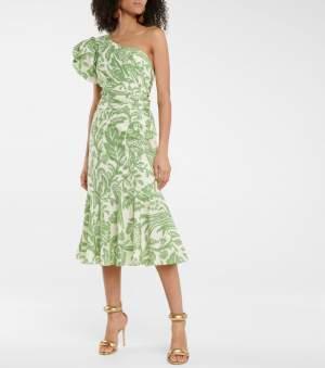 One Shoulder Printed Midi Dress