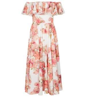 Off Shoulder Cotton Midi Dress