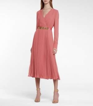Pleated Midi Dress Pink