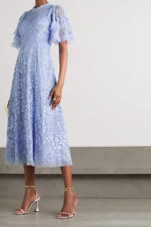 Embellished Ruffle Sleeve Dress
