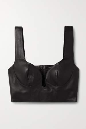 Leather Bustier Top Black