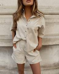 Boxy Linen Shirt Sand