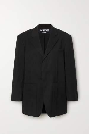 Oversized Linen Blazer Black