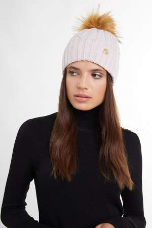 Cable Knit Cashmere Bobble Hat