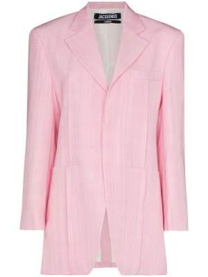 Oversized Linen Blazer Pink
