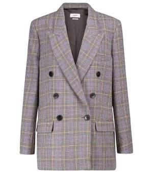 Checked Wool Blend Blazer