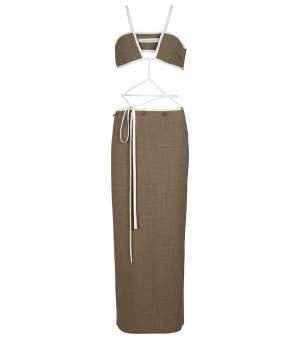 Stretch Wool Midi Dress
