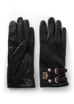 Monogram Leather Gloves Black