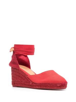 Ankle Tie Wedges Red