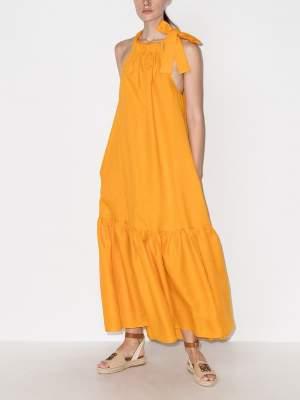 Midi Halter Dress Gold
