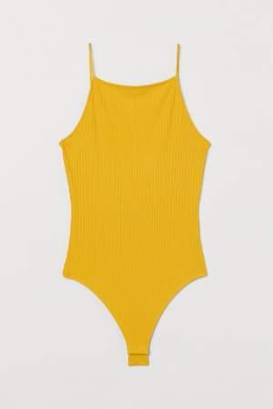 Ribbed Jersey Bodysuit Yellow