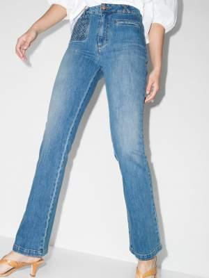Pocket Detail Flared Jean