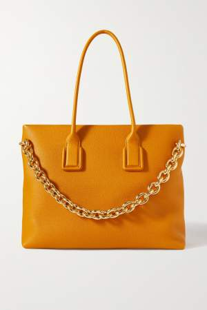 Textured Leather Tote Orange