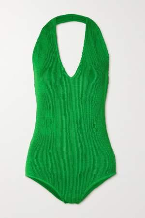 Seersucker Halterneck Swimsuit Green