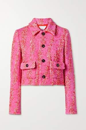 Cropped Boucle Jacket Pink