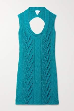 Cotton Blend Mini Dress Blue