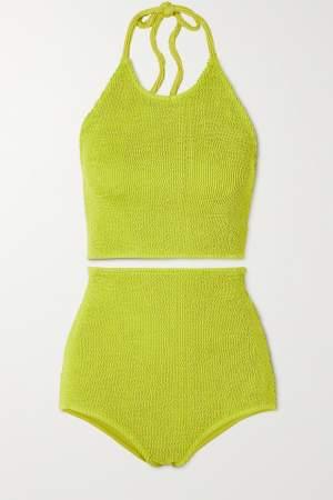 Seersucker Halterneck Bikini Lime
