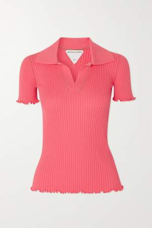Ribbed Cotton Polo Neck Pink