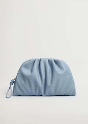 Pleated Clutch Bag Blue