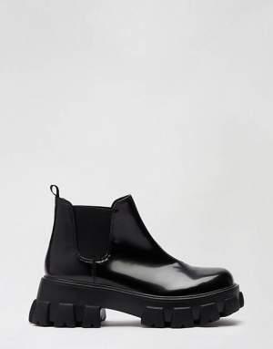 Short Patent Boots Black