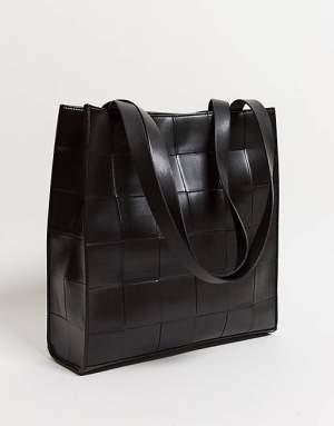 Large Woven Shopper Black