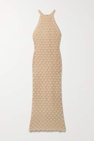 Crochet Midi Dress Beige