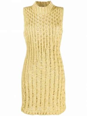 Knitted Sleeveless Dress Yellow