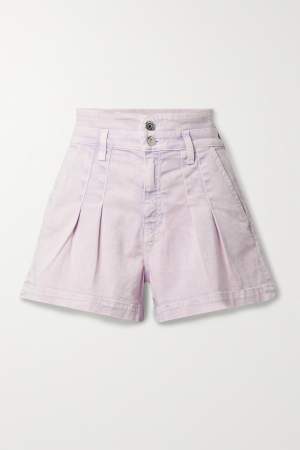 Pleated Denim Shorts Lilac