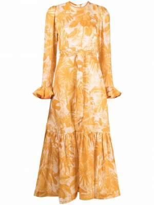 Floral Linen Dress Yellow