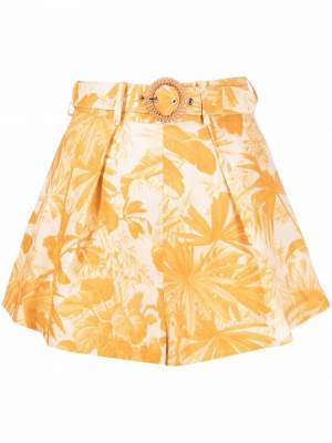 Floral High Waisted Shorts Yellow