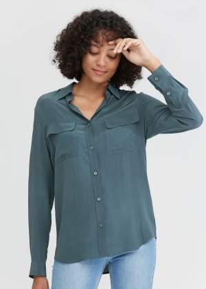 Smoky Blue Silk Shirt