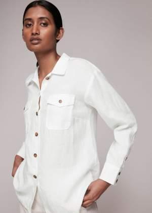 Contrast Button Linen Shirt