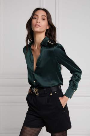 Silk V Neck Shirt Green