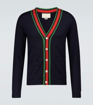 Knitted Wool Cardigan Navy